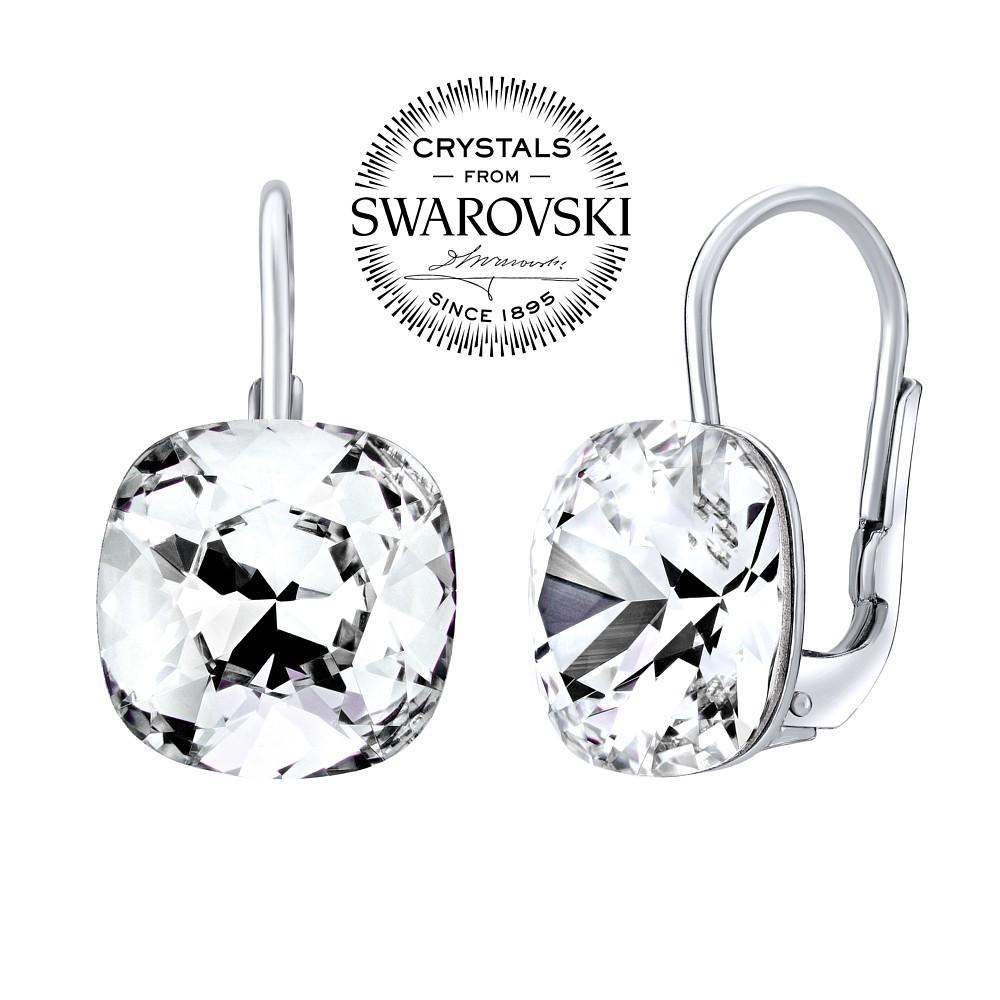 SILVEGO stříbrné náušnice se Swarovski® Crystals square 10 mm SILVEGOVSW070