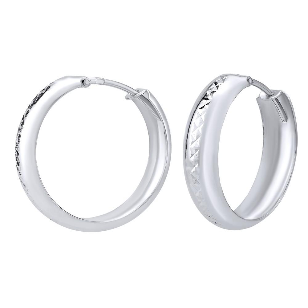 Stříbrné náušnice se vzorem - kruhy 5x20mm SILVEGOB30564P1W20