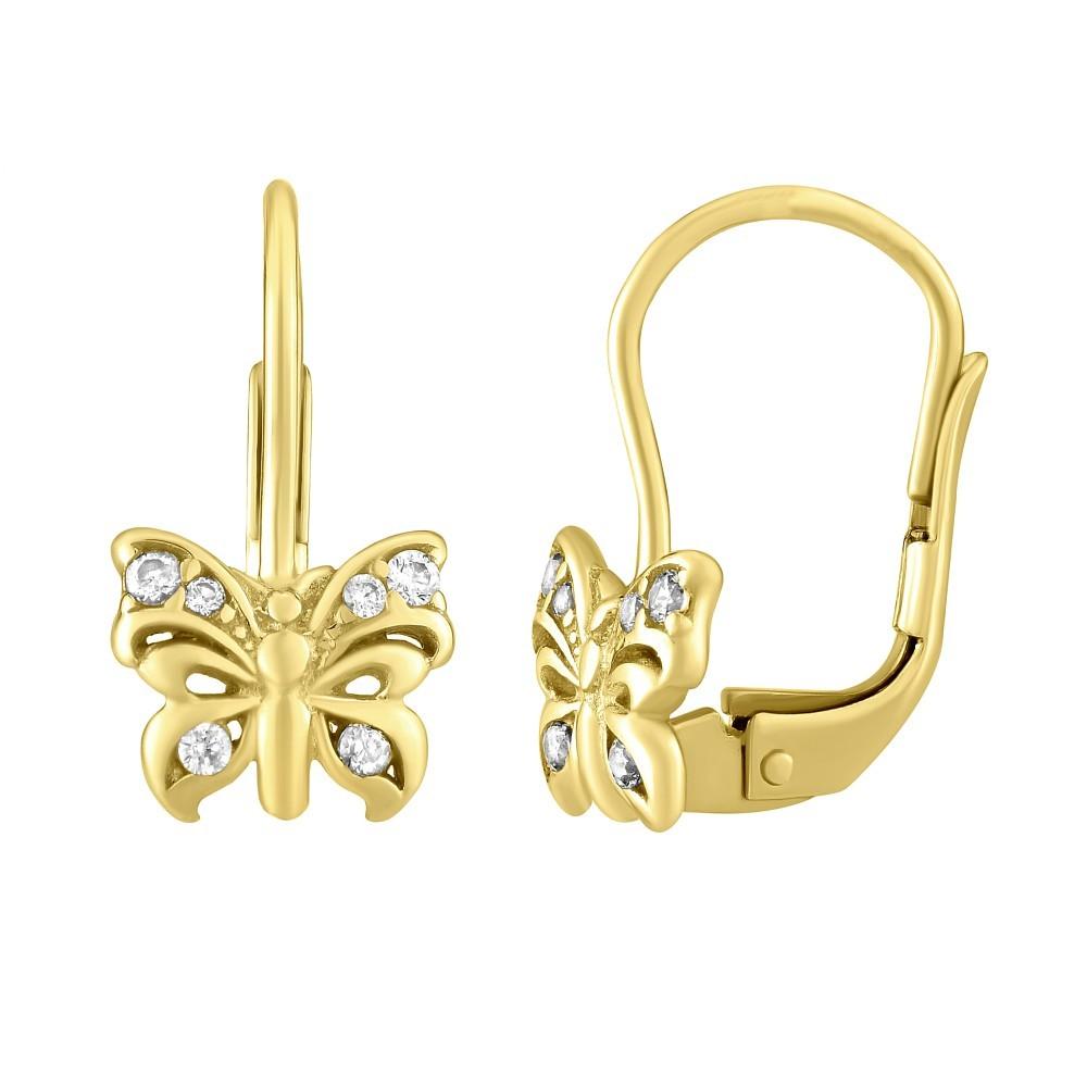 Zlaté náušnice motýlci se zirkony SILVEGOB70503