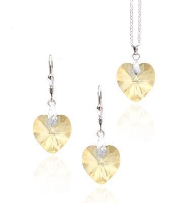 Srdcová souprava CR SW 9 s krystaly Swarovski Elements
