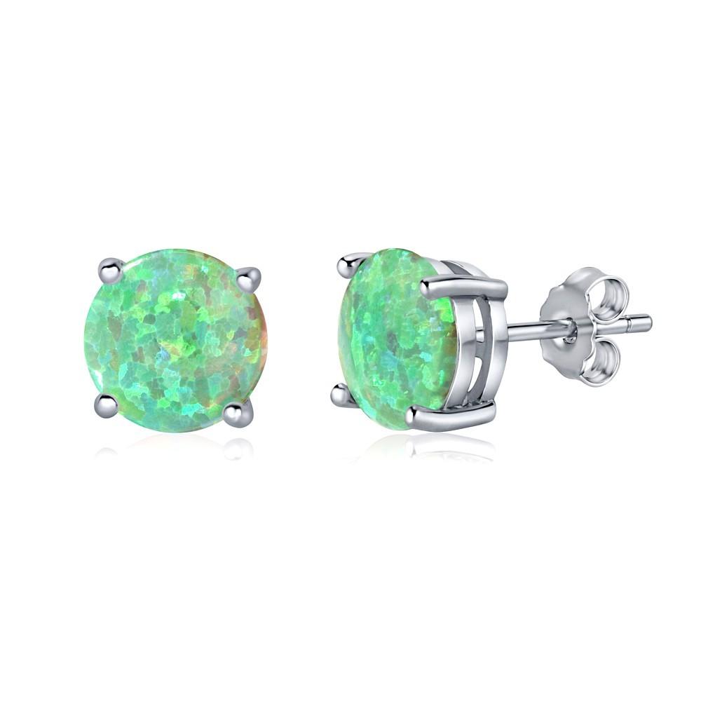 Stříbrné puzetové náušnice se zeleným opálem JJJEBG302004