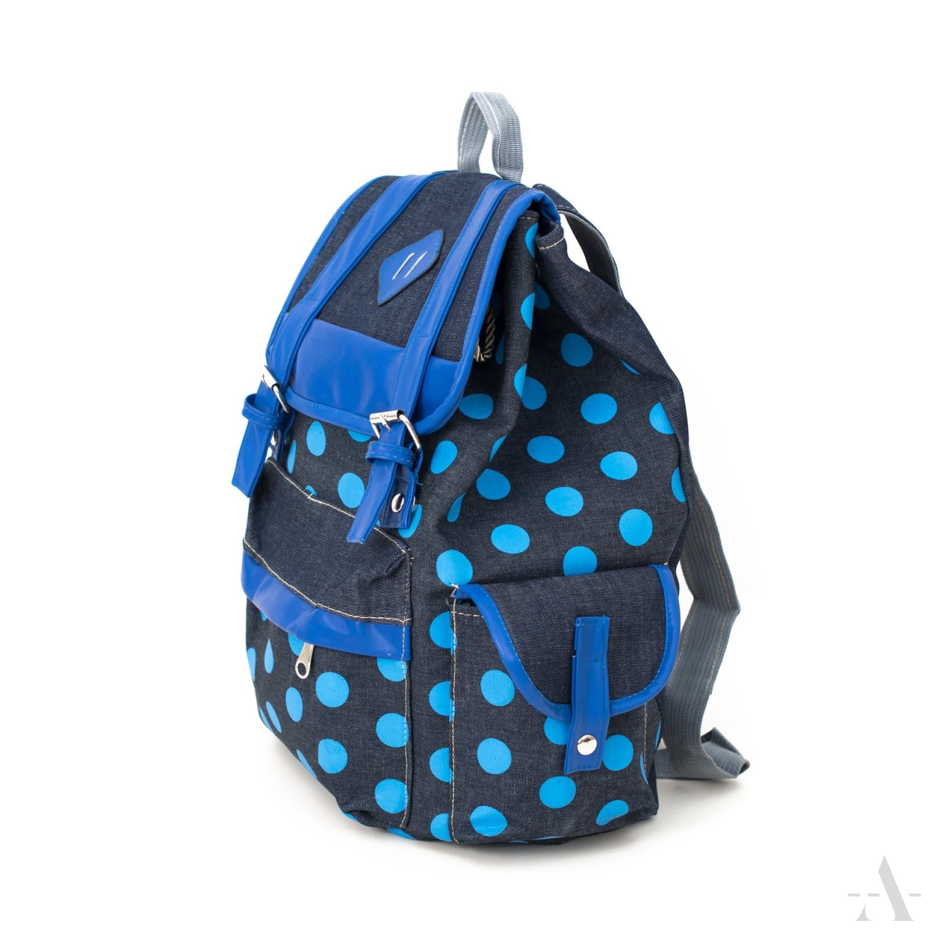 Městský puntikatý batoh TK16370 modrý
