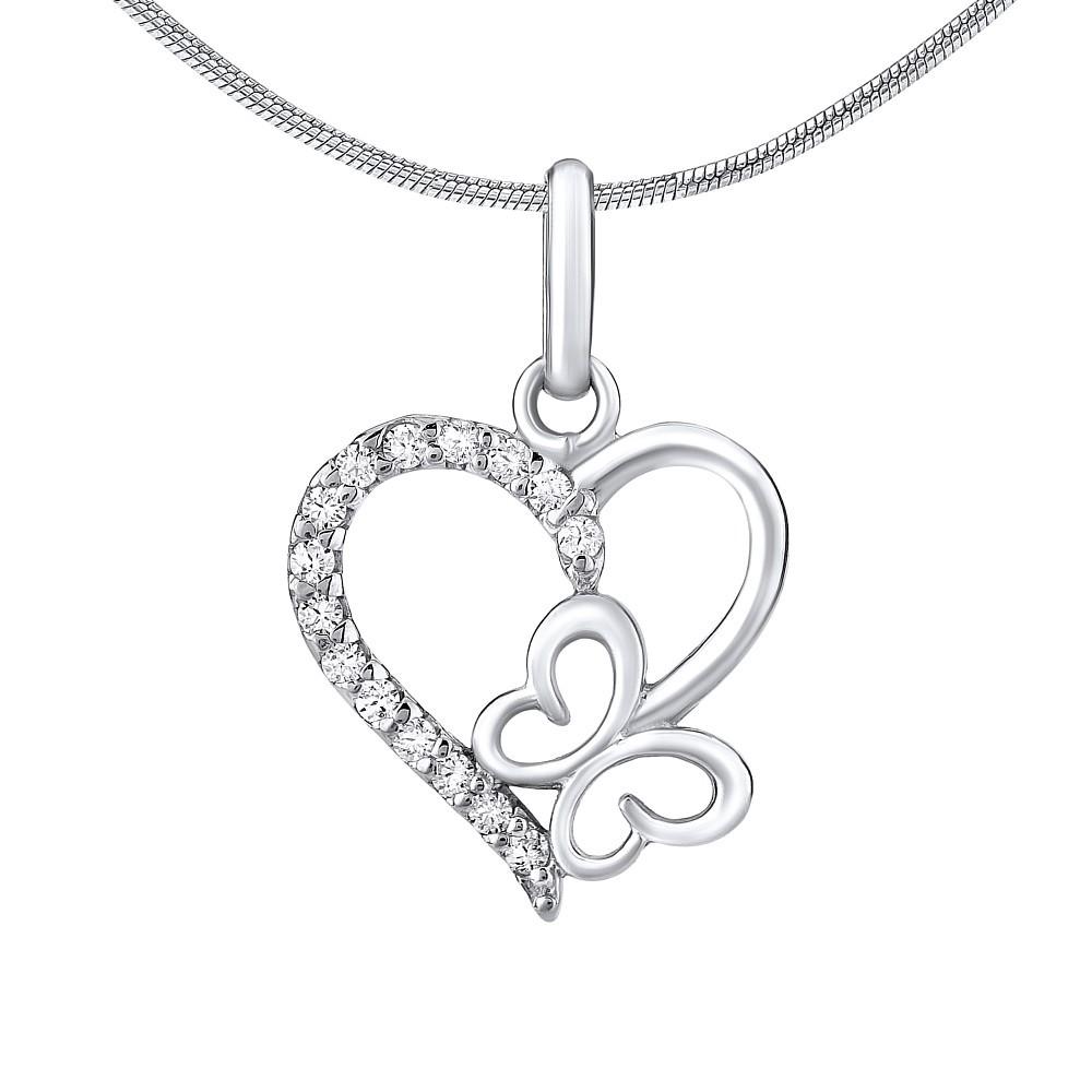 Stříbrný přívěsek srdce s motýlkem ZT54279