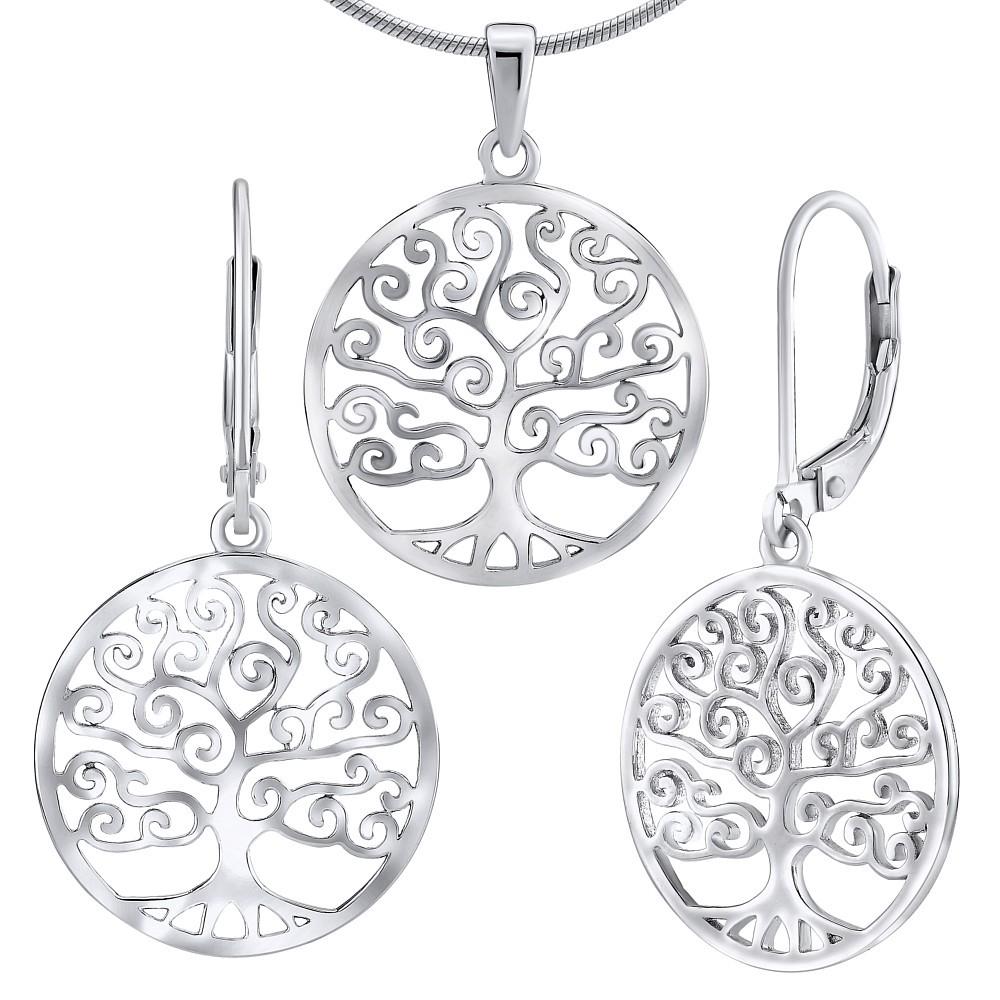 Stříbrný set šperků - náušnice a přívěsek s motivem stromu JJJ0652S