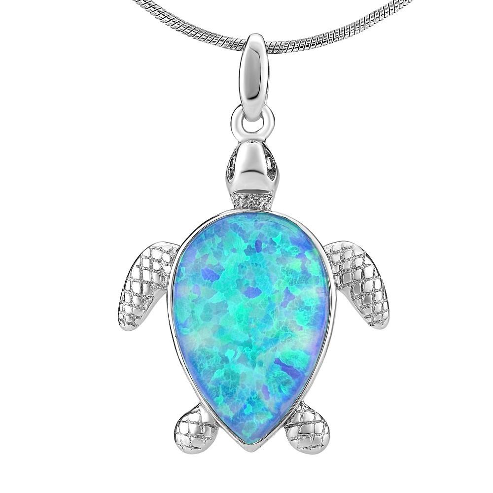 Stříbrný přívěsek ŽELVA s modrým opálem JJJP1184