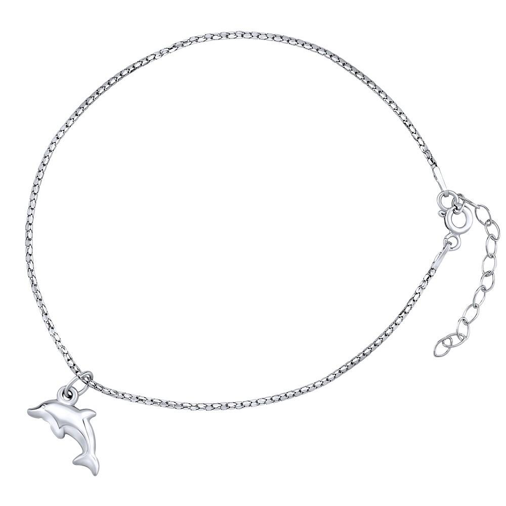 Stříbrný řetízek na nohu Delfín