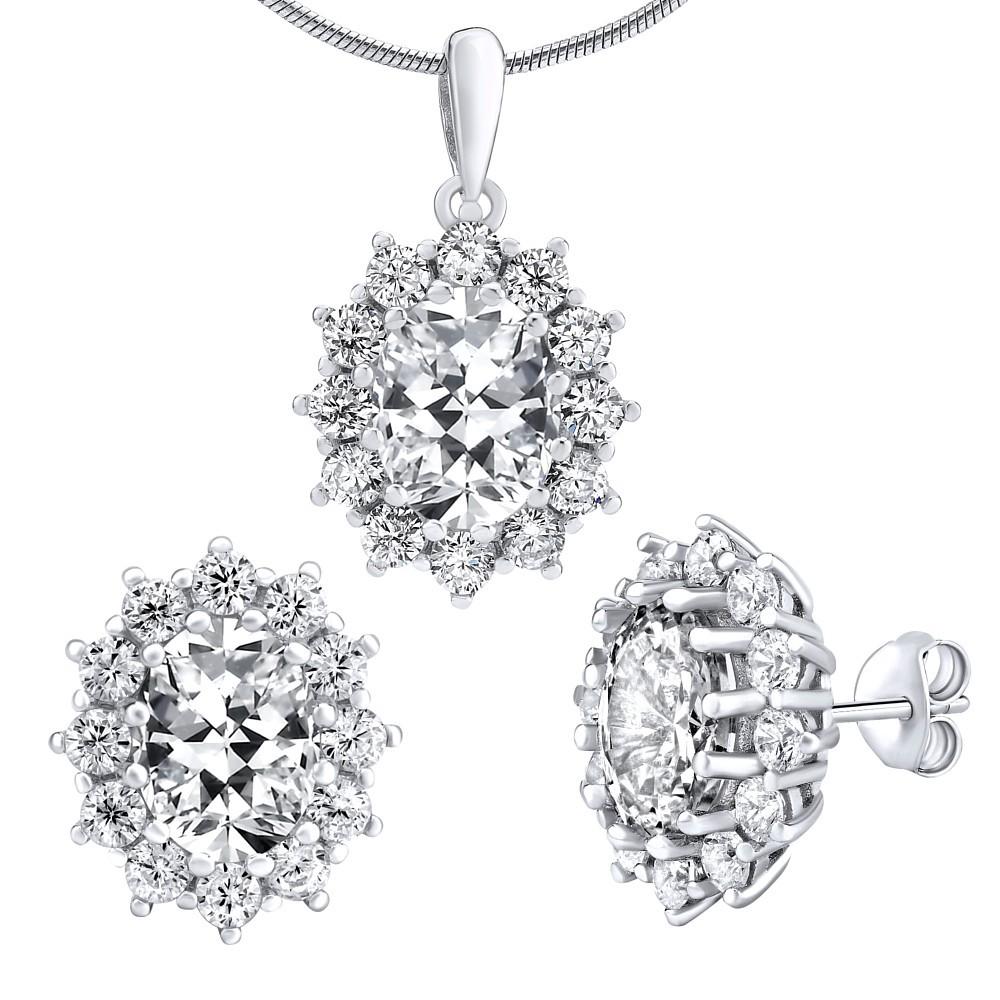 Stříbrný set šperků CESARIA - náušnice a přívěsek