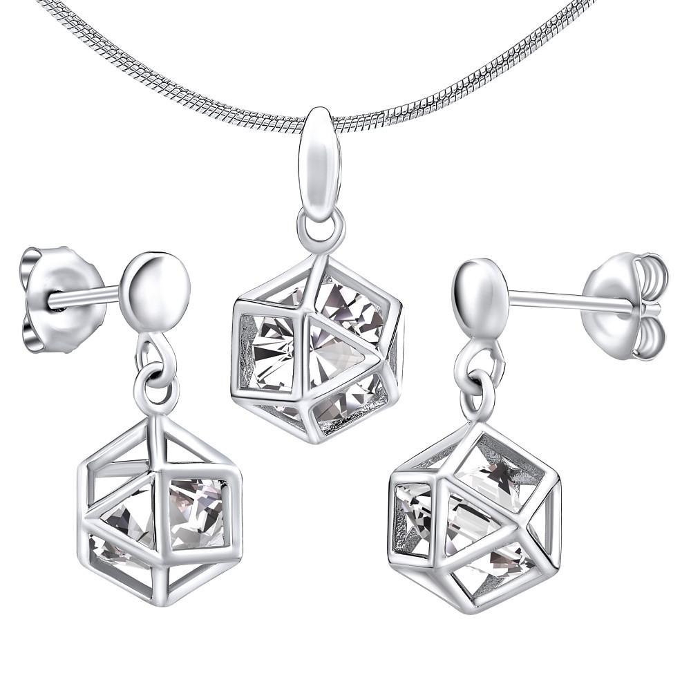 Stříbrný set šperků klec s kamenem - náušnice a přívěsek