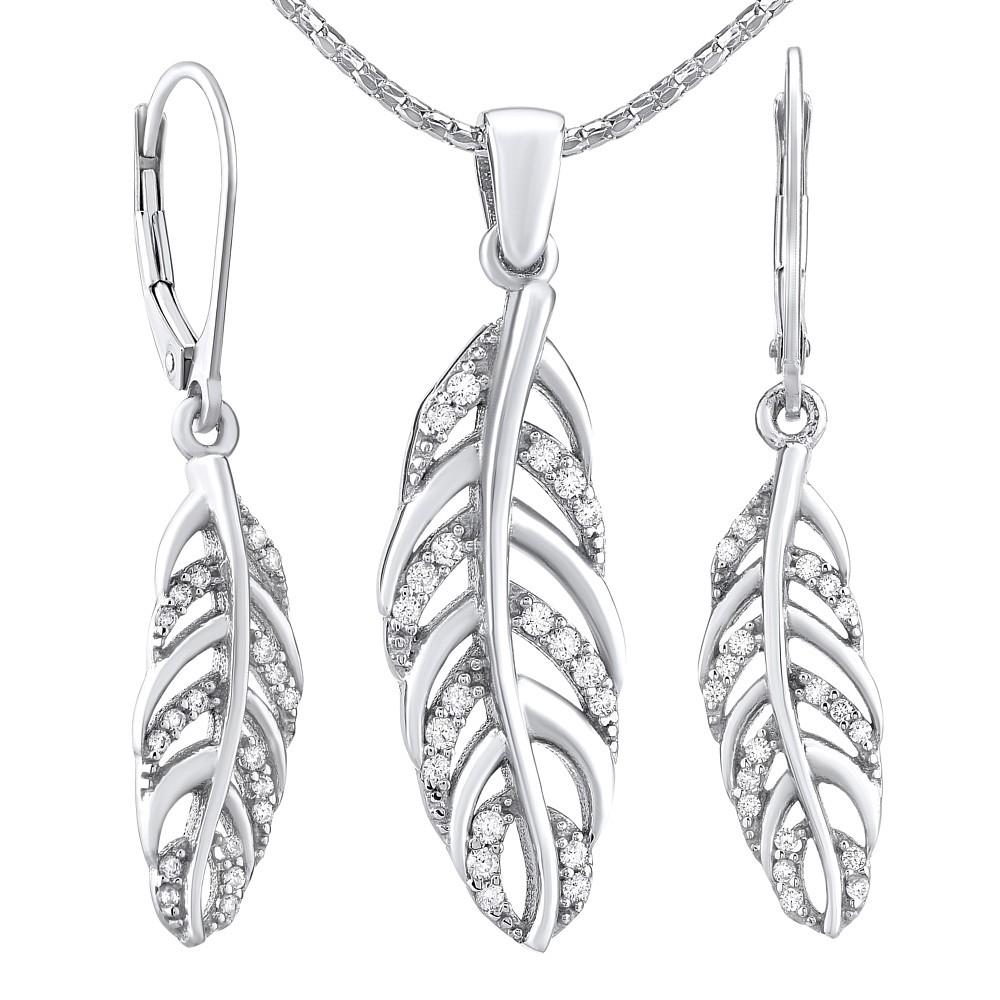 Stříbrný set šperků Pírko - náušnice a přívěsek