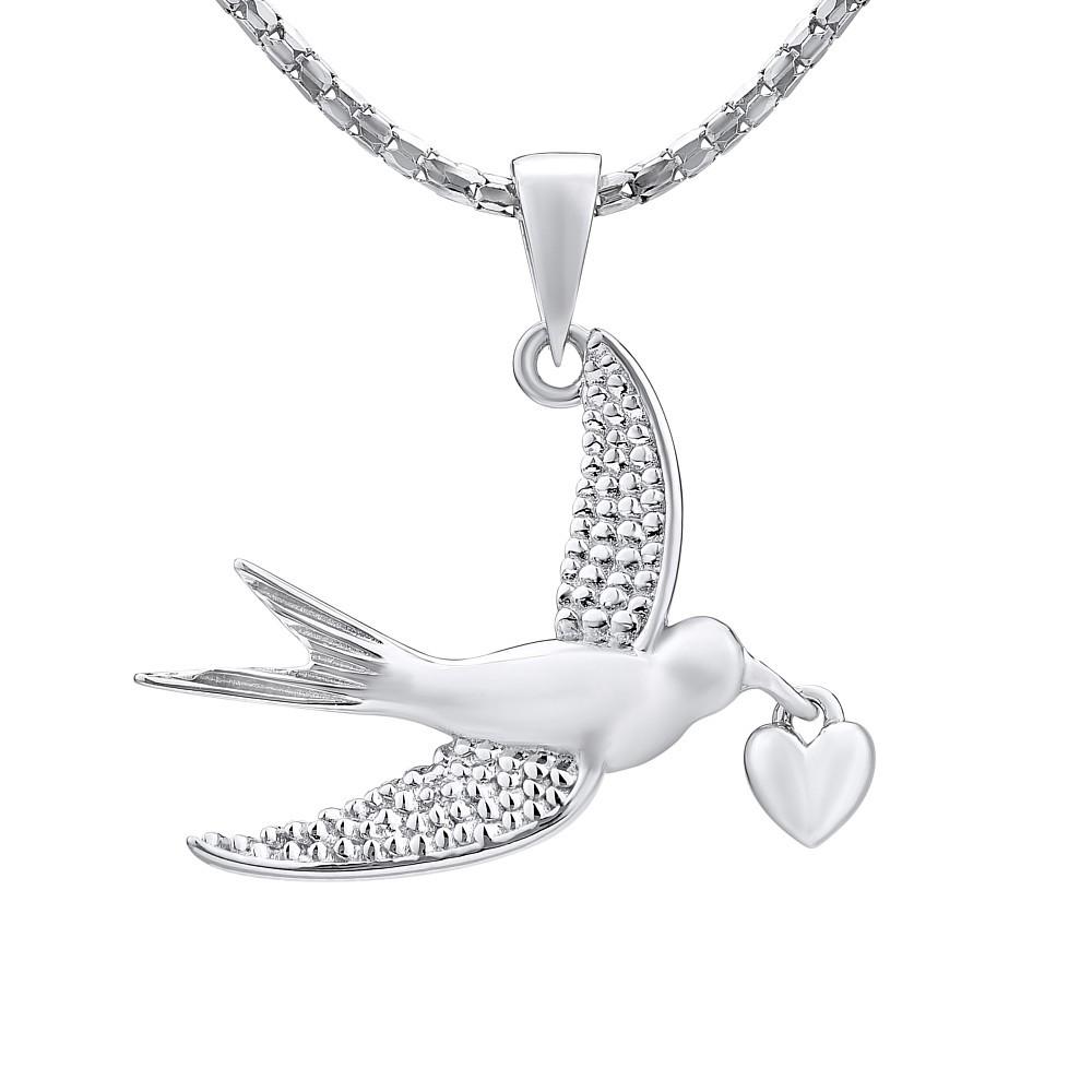Stříbrný přívěsek ptáček se srdíčkem