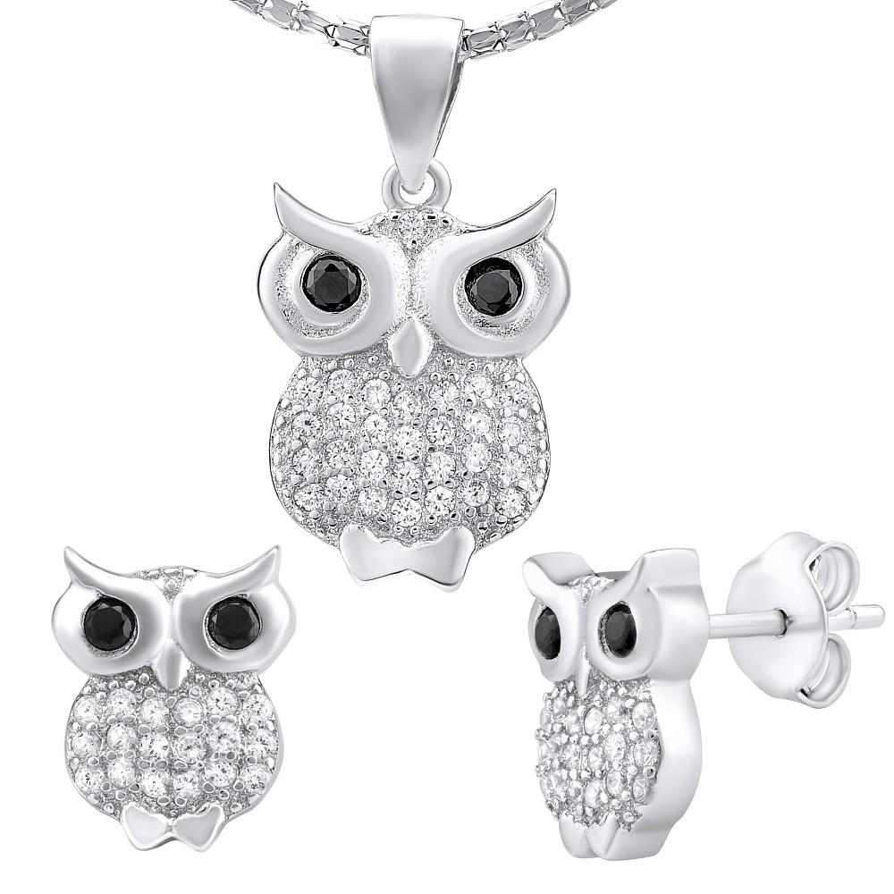 Stříbrný set šperků SOVA náušnice a přívěsek