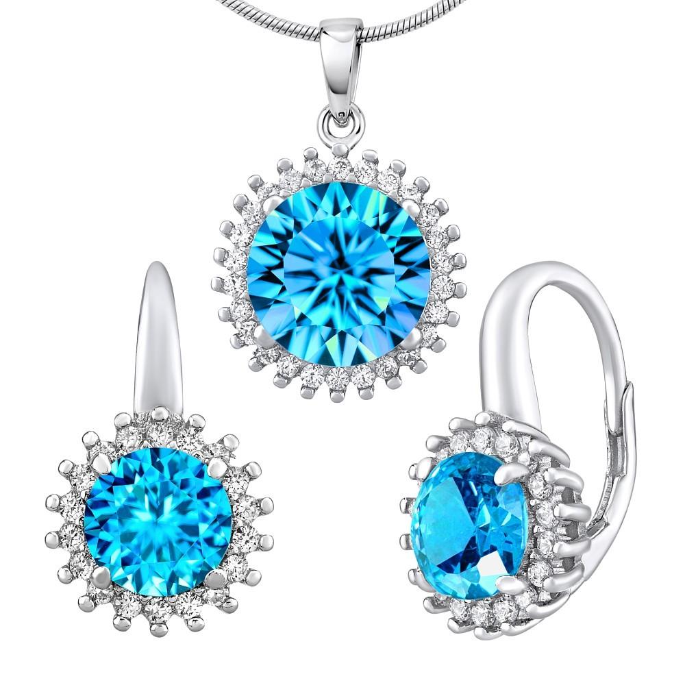 Stříbrný set šperků ADIRA náušnice a přívěsek se syntetickým topazem