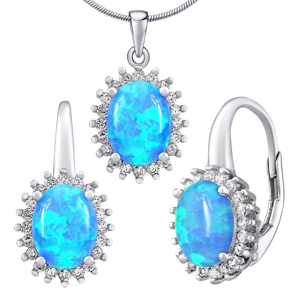 Stříbrný opálový set šperků ORIANA náušnice a přívěsek