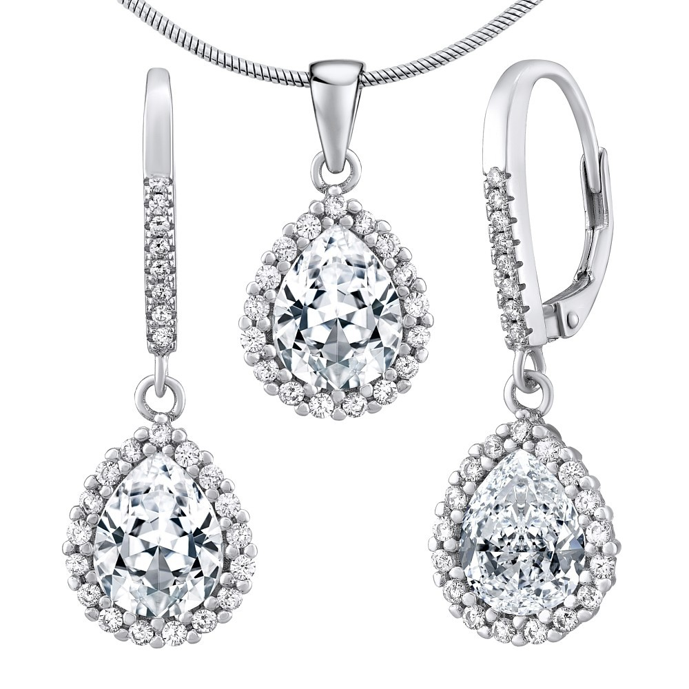 Stříbrný set šperků AMIRA náušnice a přívěsek