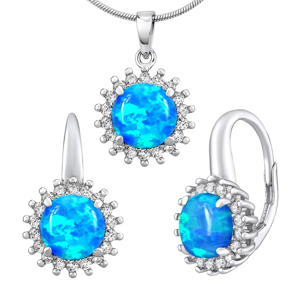 Stříbrný opálový set šperků RAINE náušnice a přívěsek