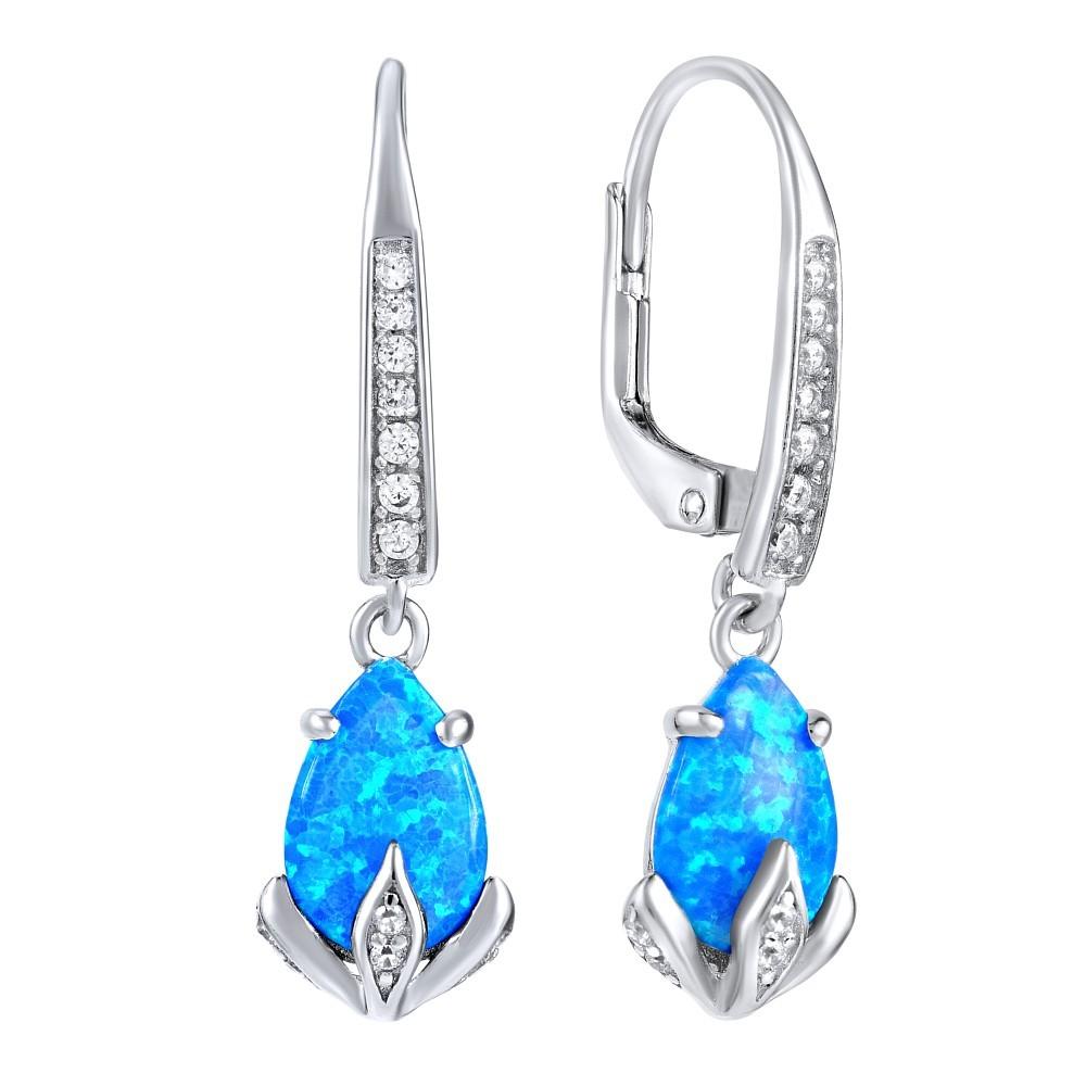 Stříbrné náušnice CLARISSA s modrým opálem