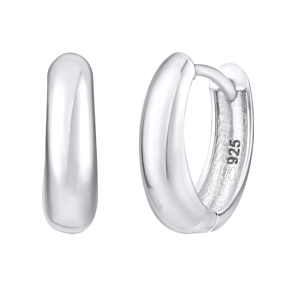 Stříbrné náušnice kruhy ROXANNE - leštěný povrch