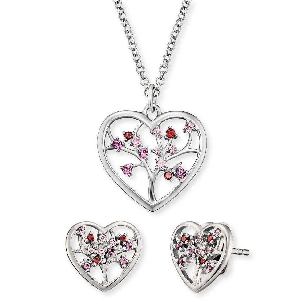 Stříbrná sada srdíčkových šperků ERO-BLOOM-01