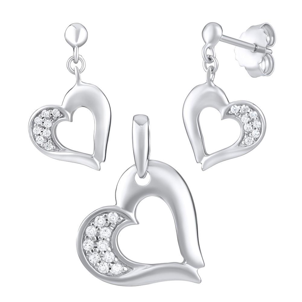 Stříbrná souprava šperků ve tvaru srdce