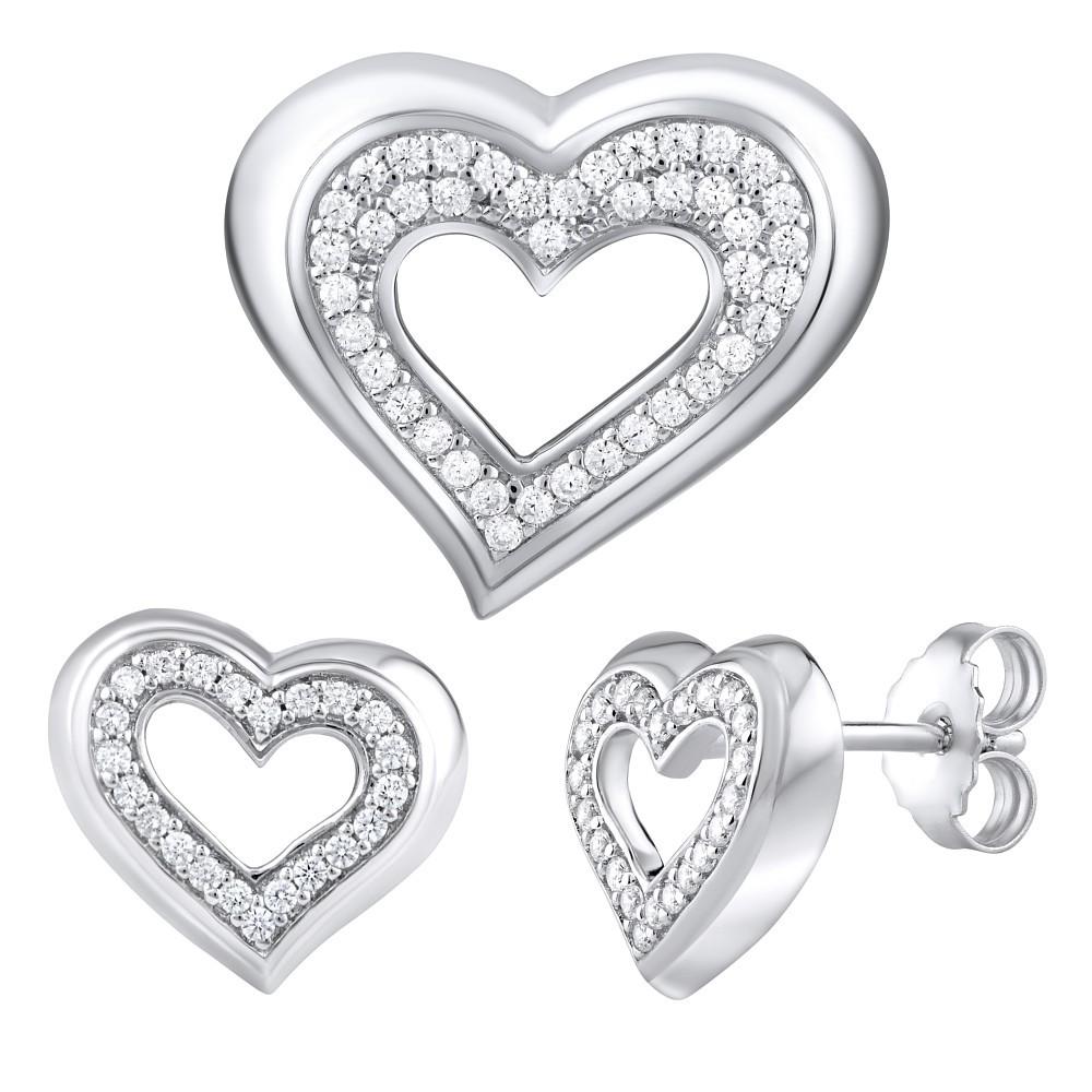 Stříbrná dárková souprava šperků ve tvaru srdce