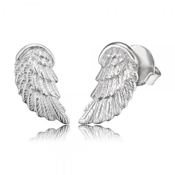 Náušnice ENGELSRUFER Andělské křídlo stříbrné s puzetkou