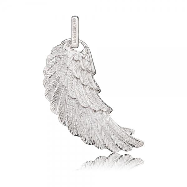 Stříbrný přívěsek Andělské křídlo s bílým smaltem ERW-L2