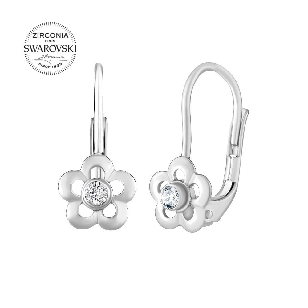 SILVEGO stříbrné dětské náušnice květinky se Swarovski® Zirkony