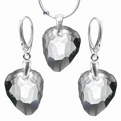 Stříbrný set - Rock Black Diamond vyroben s CRYSTALLIZED™ – Swarovski Elements L (Stříbrný set - Rock Black Diamond vyroben s CRYSTALLIZED™ – Swarovski Elements L)