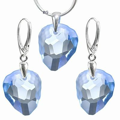 Stříbrný set - Rock Light Sapphire vyroben s CRYSTALLIZED™ – Swarovski Elements (Stříbrný set - Rock Light Sapphire vyroben s CRYSTALLIZED™ – Swarovski Elements )
