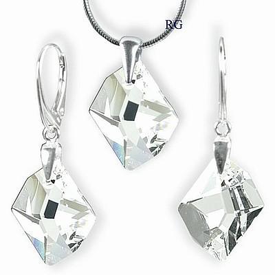 Stříbrný set - Cosmic Crystal 20mm vyroben s CRYSTALLIZED™ – Swarovski Elements (Stříbrný set - Cosmic Crystal 20mm vyroben s CRYSTALLIZED™ – Swarovski Elements )