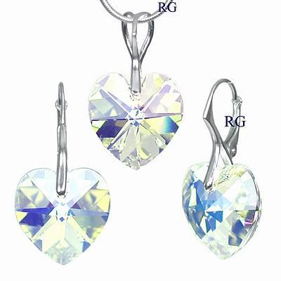 Stříbrná souprava Srdce Crystal AB vyrobena se Swarovski Elements LSW017S (Stříbrná souprava Srdce Crystal AB vyrobena se Swarovski Elements LSW017S)