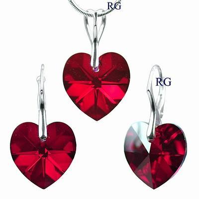 Stříbrná souprava Srdce Siam AB vyrobena se Swarovski Elements LSW006S (Stříbrná souprava Srdce Siam AB vyrobena se Swarovski Elements LSW006S)