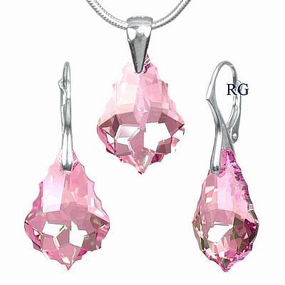 Stříbrná souprava vyrobena se Swarovski Elements - Baroque Light Rose LSW004S (Stříbrná souprava vyrobena se Swarovski Elements - Baroque Light Rose LSW004S)