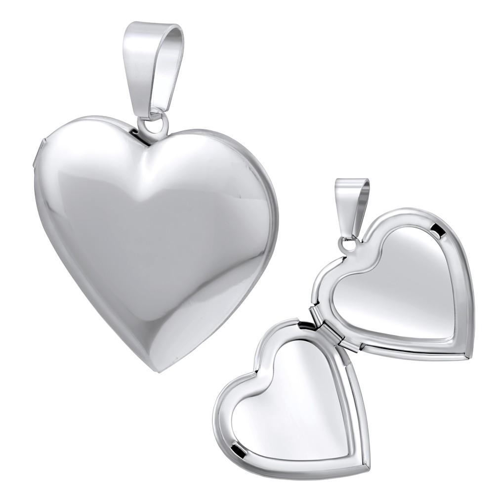 Ocelový medailon srdce otevírací