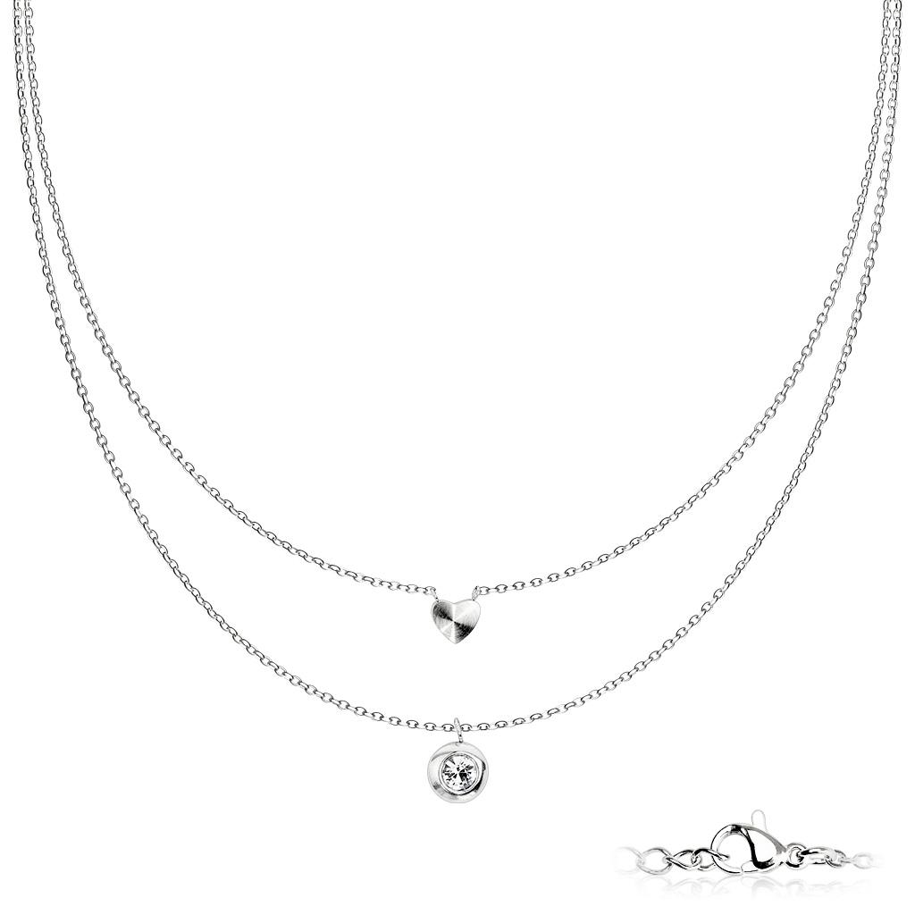 Dvojitý ocelový náhrdelník se srdíčkem