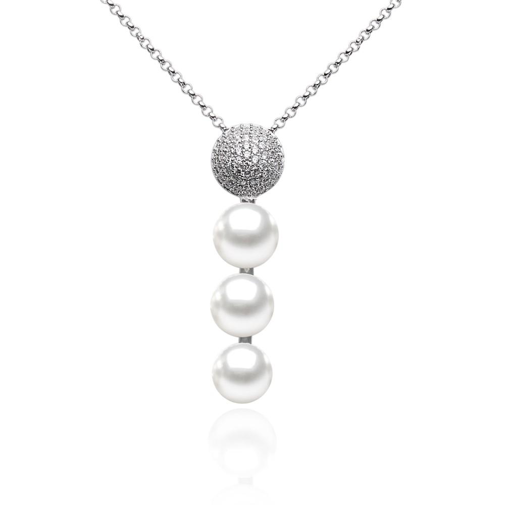 Stříbrný řetízek Sidonia s přívěskem s přírodními perlami a zirkony GRP17454PW