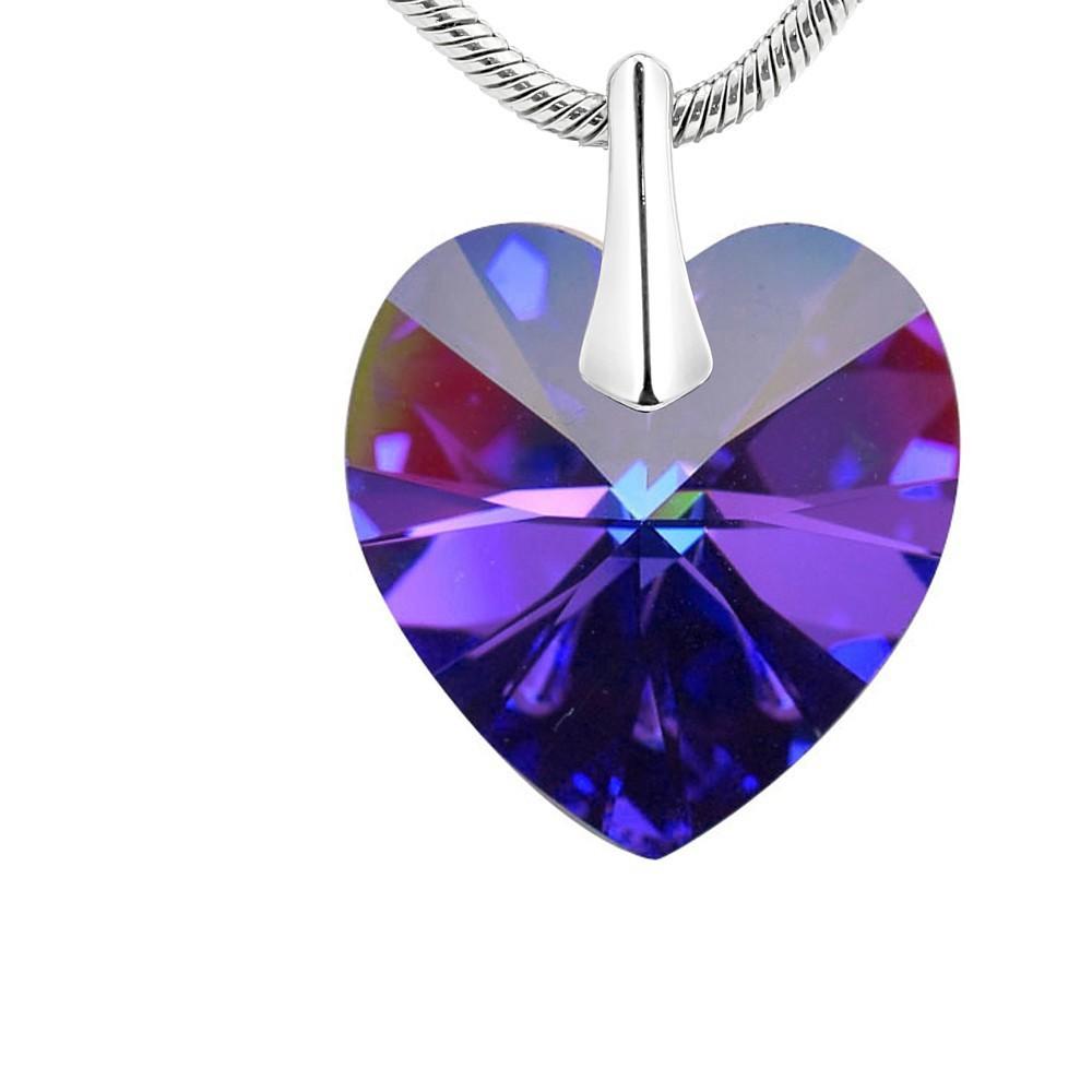 Silvego stříbrný přívěsek Srdce 14mm Heliotrope se Swarovski® Crystals LSW007P