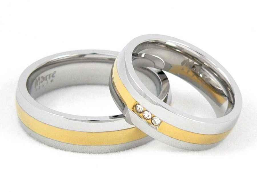 Snubní prsteny chirurgická ocel 1 pár MAR001 (Snubní prsteny chirurgická ocel 1 pár MAR001)