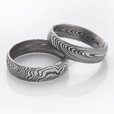 Snubní prsteny kovaná nerezová ocel damasteel DA-1001 (Snubní prsteny kovaná nerezová ocel damasteel DA-1001)
