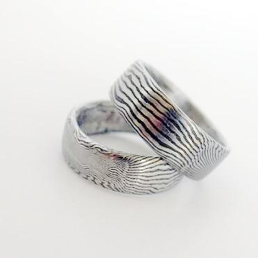 Snubní prsteny kovaná nerezová ocel damasteel DA-1003 (Snubní prsteny kovaná nerezová ocel damasteel DA-1003)