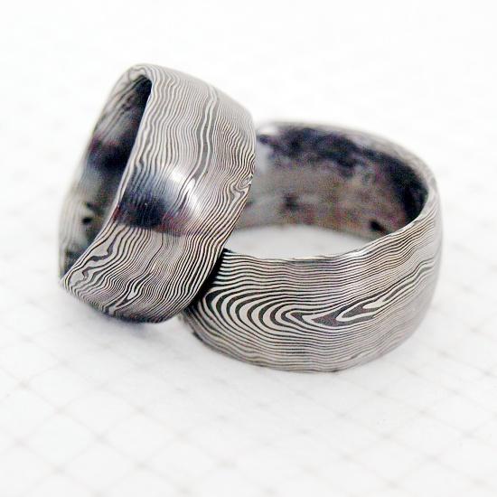 Kovane Snubni Prsteny Z Nerezove Damaskove Oceli