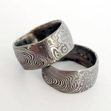 Snubní prsteny kovaná nerezová ocel damasteel DA-1005 (Snubní prsteny kovaná nerezová ocel damasteel DA-1005)