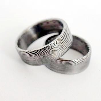Snubní prsteny kovaná nerezová ocel damasteel DA-1008 (Snubní prsteny kovaná nerezová ocel damasteel DA-1008)