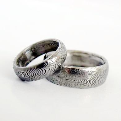 Snubní prsteny kovaná nerezová ocel damasteel DA-1009 (Snubní prsteny kovaná nerezová ocel damasteel DA-1009)
