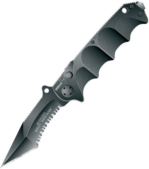 Böker Jim Wagner RBB Black Aluminum Handle ComboEdge 01BO054