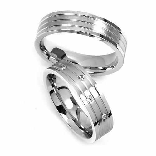 Ocelové snubní prsteny RRC2095 (Pár Snubních prstenů RRC2095)