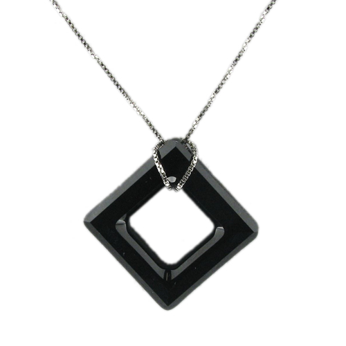 Náhrdelník Black square Crystal E015 (Made with Swarovski® Elements)