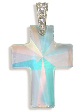 Přívěsek kříž aurora borea large (Made with Swarovski® Elements)