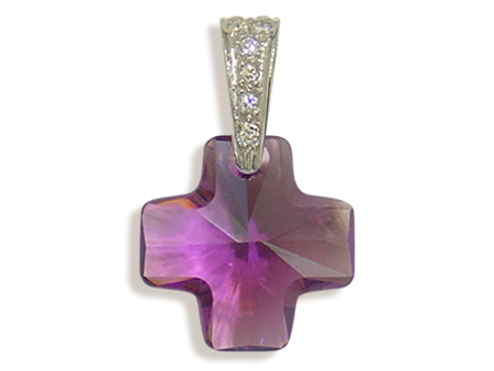Přívěsek kříž amethyst (Made with Swarovski® Elements)