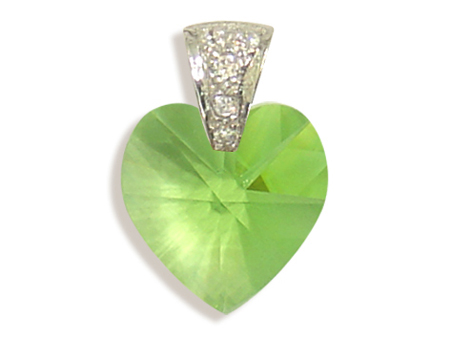 Přívěsek srdce peridot (Made with Swarovski® Elements)